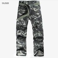 DLIXZI Men Camo Pants Fashion Cargo Pants Military Style Baggy Plus Size Male Trousers Multiple Pockets