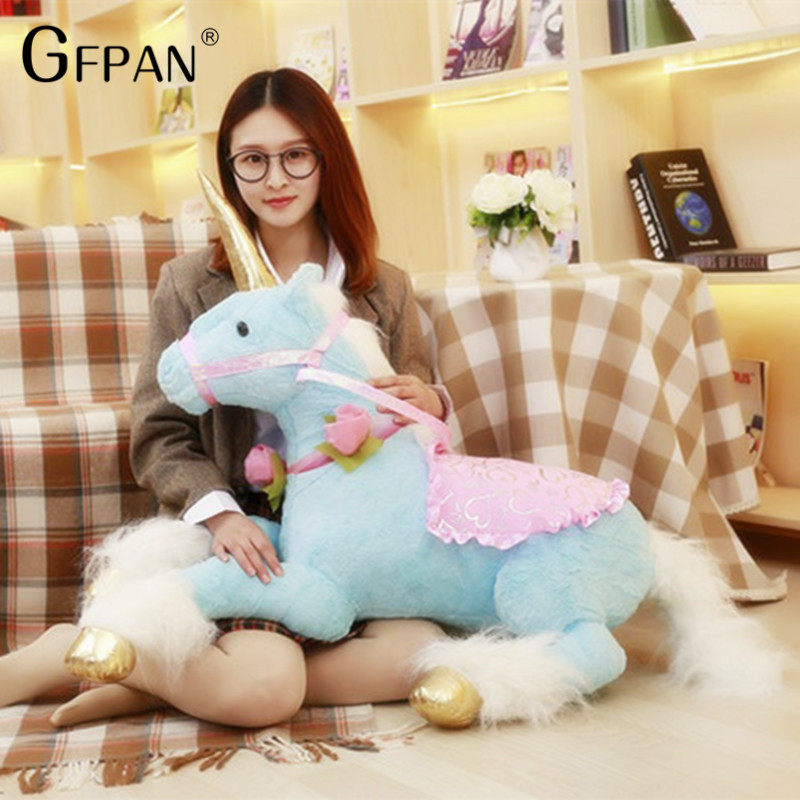 1m Lovely Unicorn Giant Horse Super Soft Plush Toys Stuffed Animal Doll Kawaii Gift For Children Kids Brinquedos Home Decoration