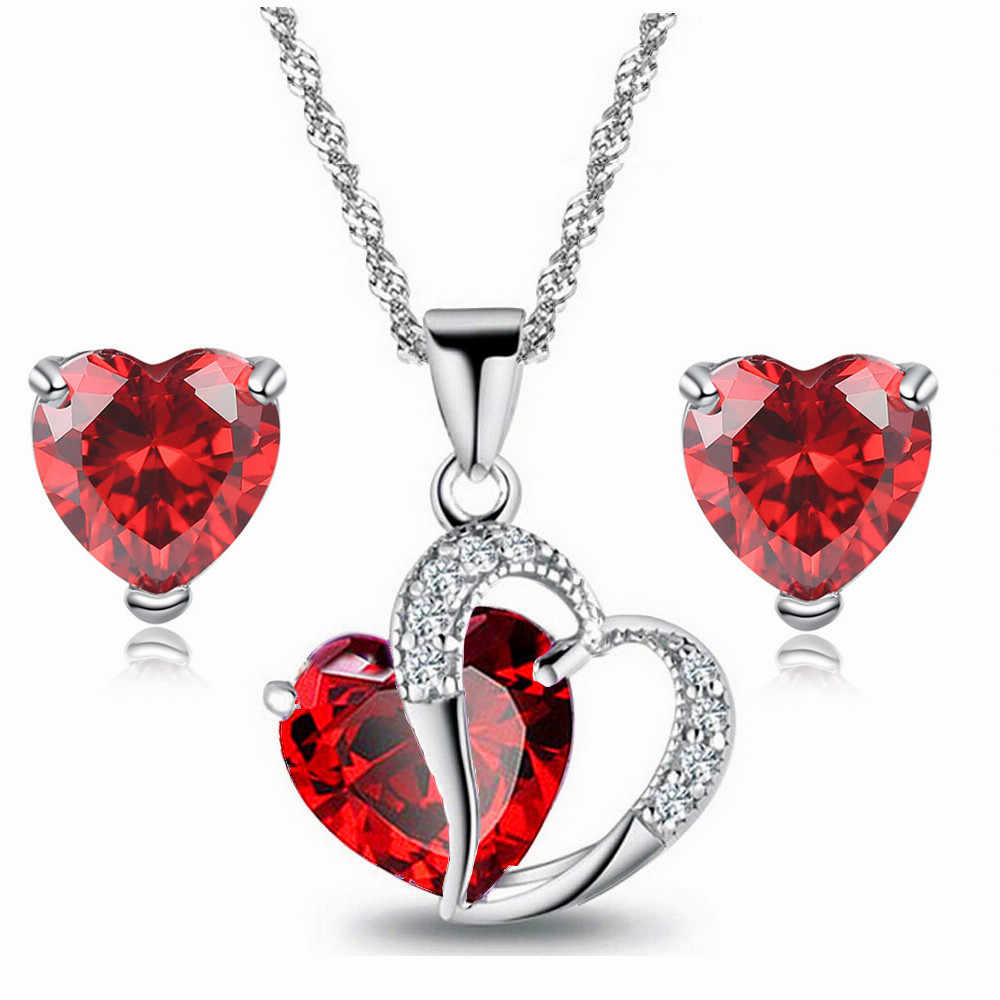 2018 Hot Sell Top Class Fashion Heart Pendants Crystal Jewelry New Girls Women Jewelry