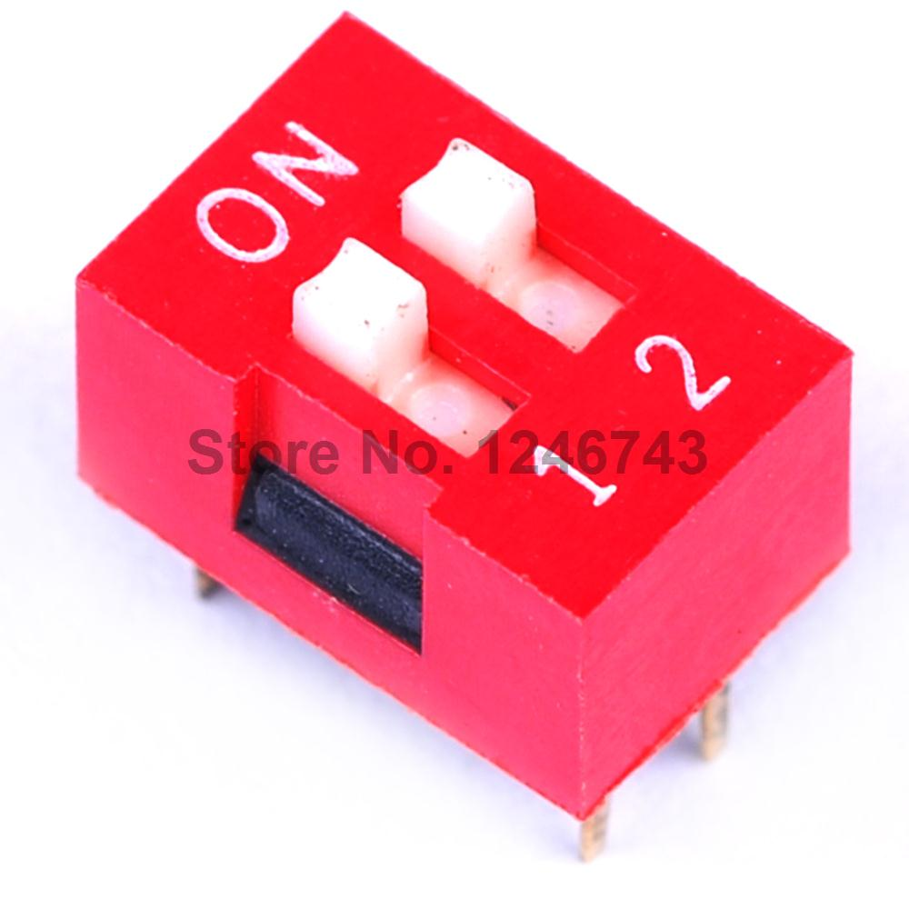 100pcs 254mm 2pin Flat Dial Switch Toggle Dip A37 No 2