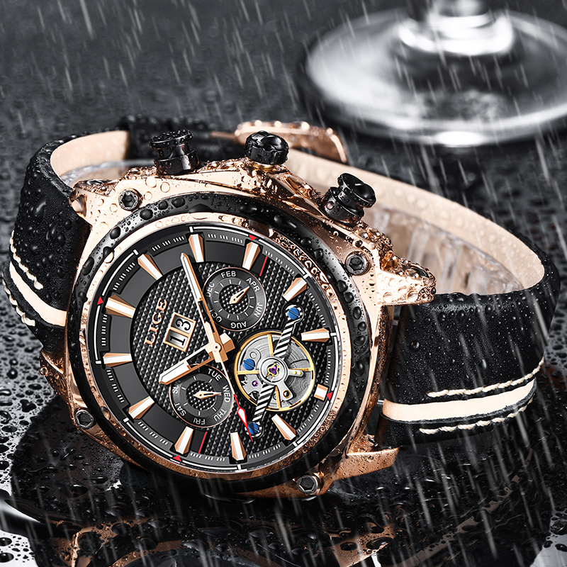 Montre Homme LIGE New Men Watch Luxury Automatic Mechanical Watches Male Military Leather Waterproof Watch Men Business ClockMontre Homme LIGE New Men Watch Luxury Automatic Mechanical Watches Male Military Leather Waterproof Watch Men Business Clock