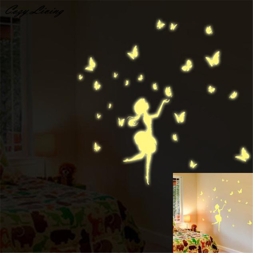 Luminous wall sticker a set kids bedroom fluorescent glow in the dark stars w - Stickers pour plafond ...