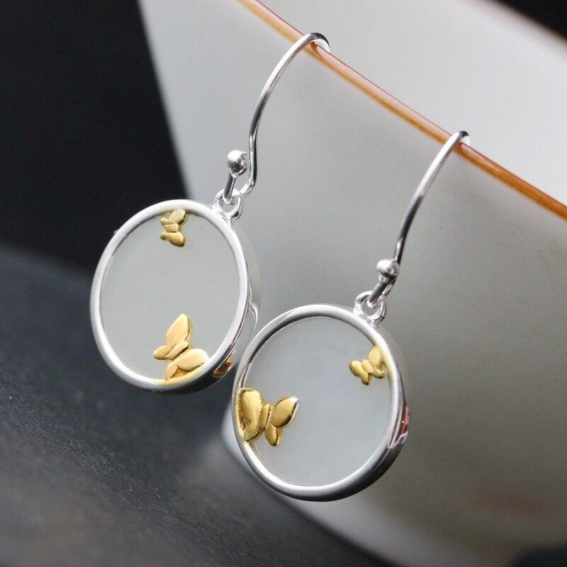 Pendentif en argent sterling 925 reconstituant les anciennes façons de régler manuellement les boucles d'oreilles en argent naturel hetian femelle