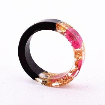 Handmade Flowers Wood Resin Ring31