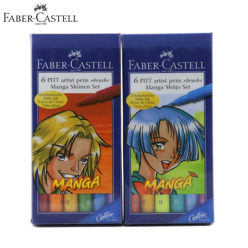 Faber Castell India Ink Pitt Art Marker Pen B 'Manga' Sketch/Color Pens Profesonal Soft Fineliner/Brush For Kids/Artist Painting w110145 soft head fine water mark pen 48 60 color beginners painting professional equipment advanced ink student art suit