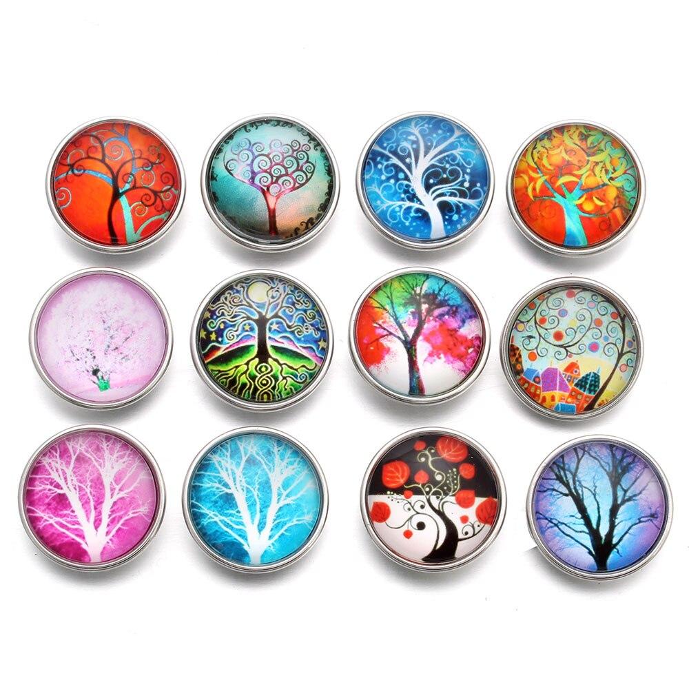 10pcs/lot Mixed Snap Button Jewelry Life Tree 18MM Glass Snap Fit Snap Buttons Bracelet Snap Jewelry