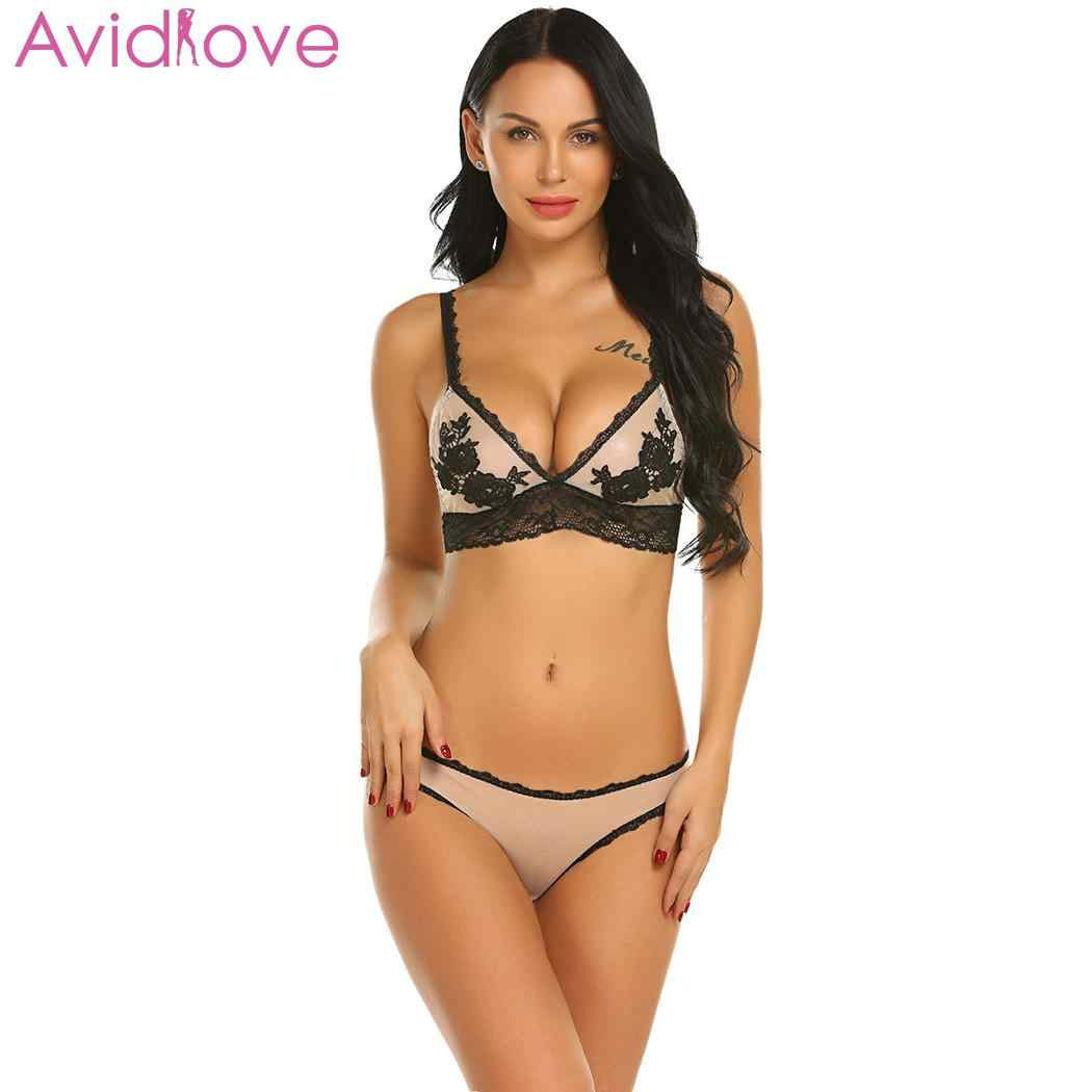 36f0460f9d591 Avidlove Sexy Lingerie Set Women Sexy Underwear Erotic lenceria Set V-Neck  Spaghetti Strap Floral