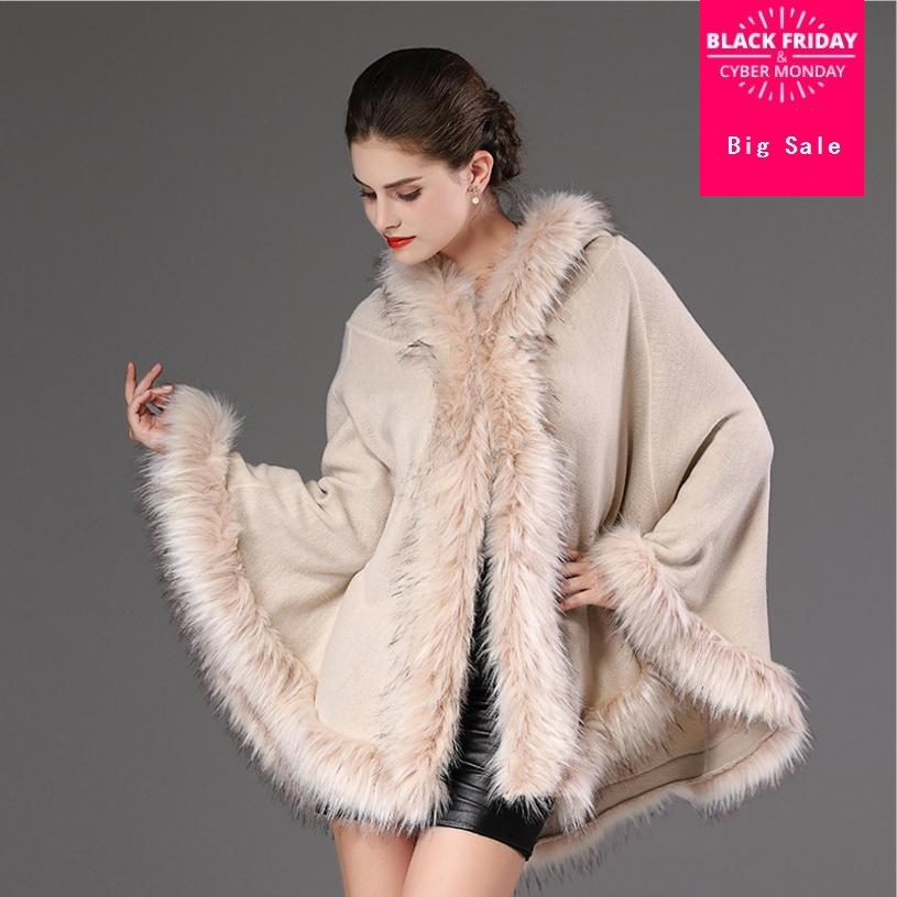 2018 winter new women's knit imitation Raccoon Dog Fur coat female fur collar hooded sweater cardigan shawl cloak jacket L1137