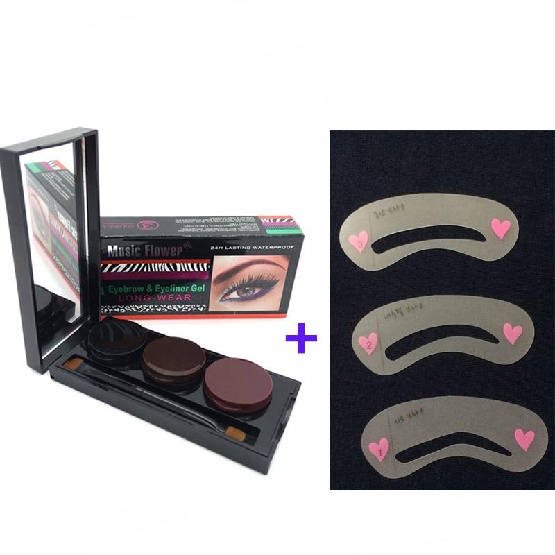 Zgjatësi i vetullave Zgjerimi i vetullave profesionale të syve + Stencils për vetullat Makeup 3 verë me pluhur vetullash pluhur Eyeliner Make Up Palette Set