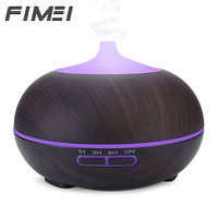 Fimei 300ml Ultrasonic Air Humidifier Wood Grain Aroma Oil Diffuser Night Light Color Changing LED Lights