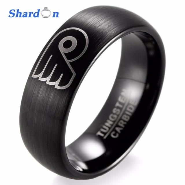 Shardon Nhl Hockey Philadelphia Flyers Logo Ring Wedding Band Engagement Jewelry Tungsten Matte Finished Rings For