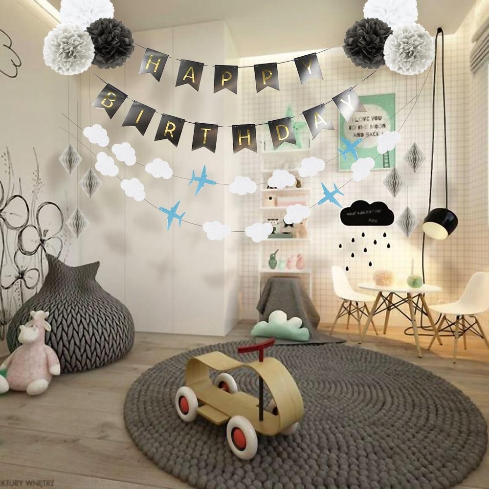 14Pcs/Set Kids Birthday Party Decoration Set Supplies Happy Banner Pom Poms Decor For kids Decorations