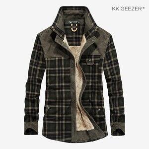 Image 3 - フランネルシャツの男性軍格子縞の冬暖かいフリース厚コート綿100% の高品質ポケットシャツ長袖ドロップシッピング