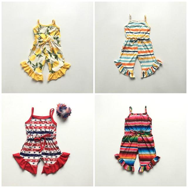 summer baby girl sleeveless cotton serape lemon stripe July 4th ruffle boutique romper tutu clothes One-piece garment jumpsuit