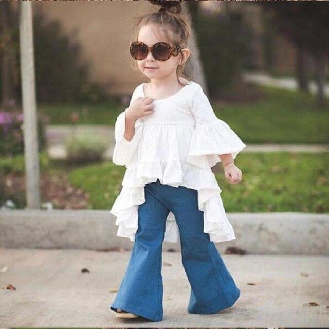 2017 горячей продажи моды новорожденных девочек джинсы Вспышки брюки boot cut жан длинные брюки для детей девочек childrends джинсы DK0127
