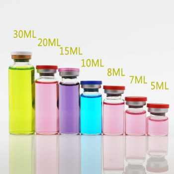 500pcs/lot Clear & Amber Empty Injection Glass Vial with Center Flip Off Cap Transparent Liquid Medicine Glass Containers