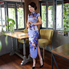 Purple Vintage Print Chinese Traditional Women Satin Dress Sexy Long Slim Mandarin Collar Qipao New Spring