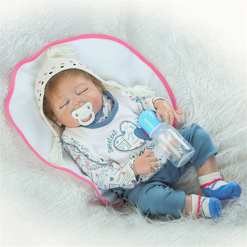 Full Silicone Reborn Baby Sleeping Girl Doll Toy 55cm Newborn Princess Babies Alive Doll Girl Bonecas Birthday Gift Play House TFull Silicone Reborn Baby Sleeping Girl Doll Toy 55cm Newborn Princess Babies Alive Doll Girl Bonecas Birthday Gift Play House T