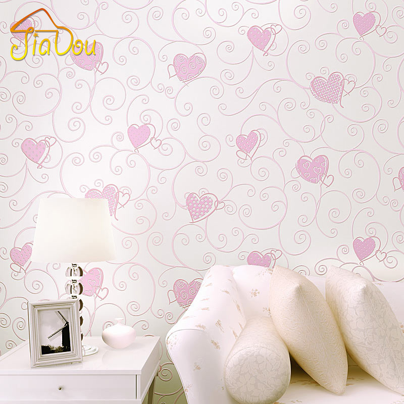 3D Pink Love Heart Cartoon Princess Girl Room Background Wallpaper Roll 3D Embossed Flocking Non Woven Kids Wall Covering Paper beibehang wall paper pune girl room cartoon children s room bedroom shop for environmental non woven wallpaper ocean mermaid