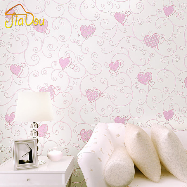 Marvelous 3D Pink Love Heart Cartoon Princess Girl Room Background Wallpaper Roll 3D  Embossed Flocking Non Woven