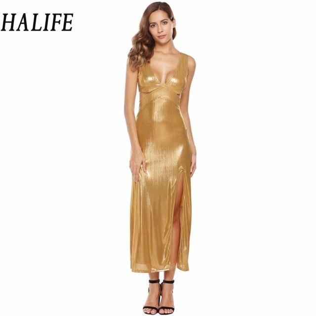 a4190c4adae80 US $33.21 |HALIFE Women Metallic Dress Sleeveless Cut Out Drape Split Sexy  Party Long Maxi Flapper Gold Dress Golden Vestido De Festa 915-in Dresses  ...