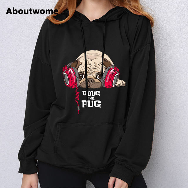 Doug The Pug 2017 Hoodie Sweatshirt Women Funny Cute Kawaii Long Sleeve Top Loose Harajuku Kpop Pullovers For Girls