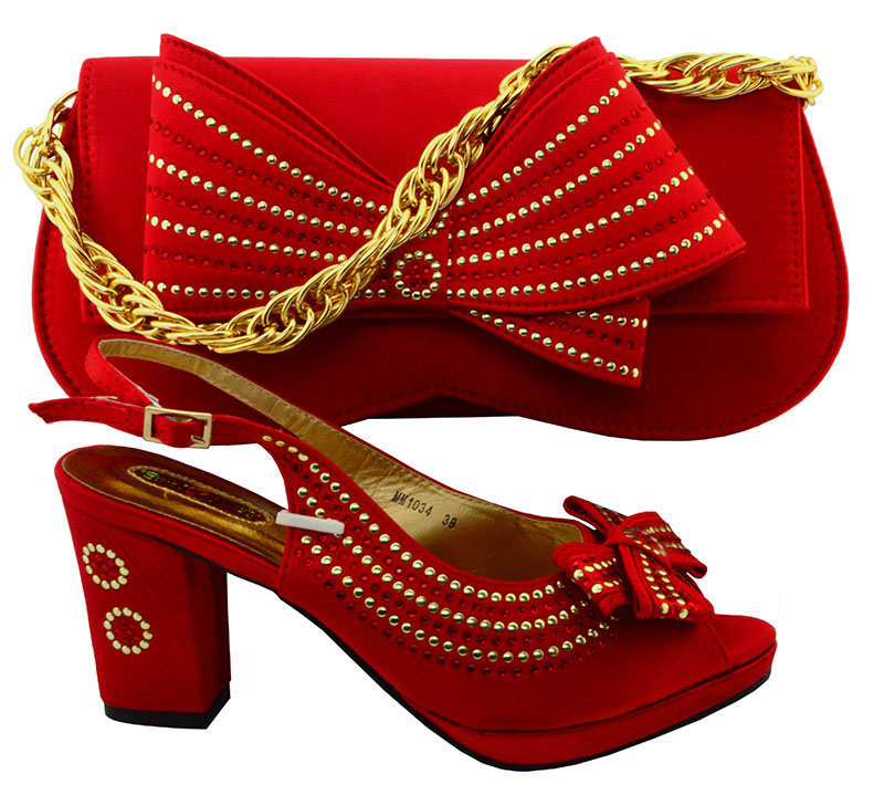Latest Italian Shoes With Matching Bags Nigeria Wedding Shoes And Bag To Match Stones African Shoe And Bag Set for part WMM1-24