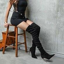 DoraTasia/Новые брендовые осенне-зимние ботфорты, большие размеры 32-46 женская обувь женские Вечерние туфли на высоком тонком каблуке женские ботинки