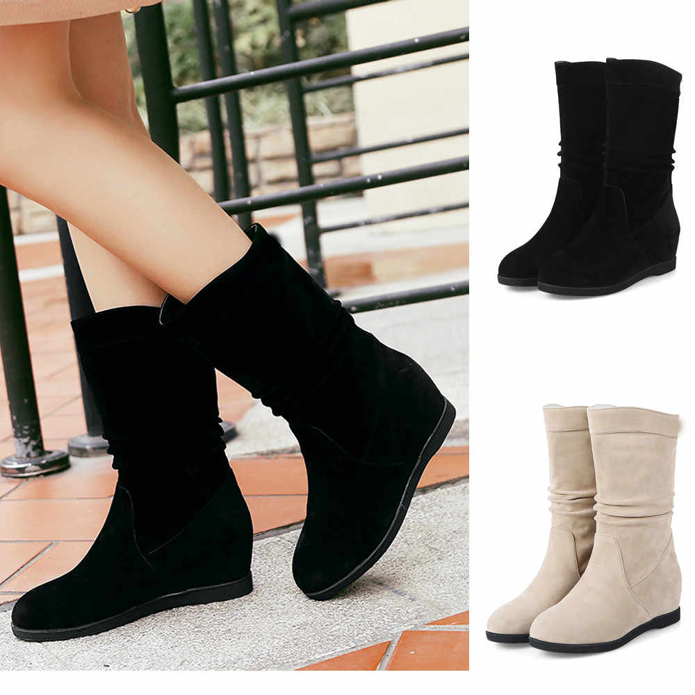 Women's Winter Boots Suede Boot Mid Tube Slip-On Warm Fur Short Boot Flat Heels Solid 2019 Lady Stylish Party Snow Botas Mujer