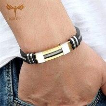 Крутой мужской браслет здоровья из нержавеющей стали силиконовые браслеты с цепочкой мужские силиконовый браслет Браслет мужской