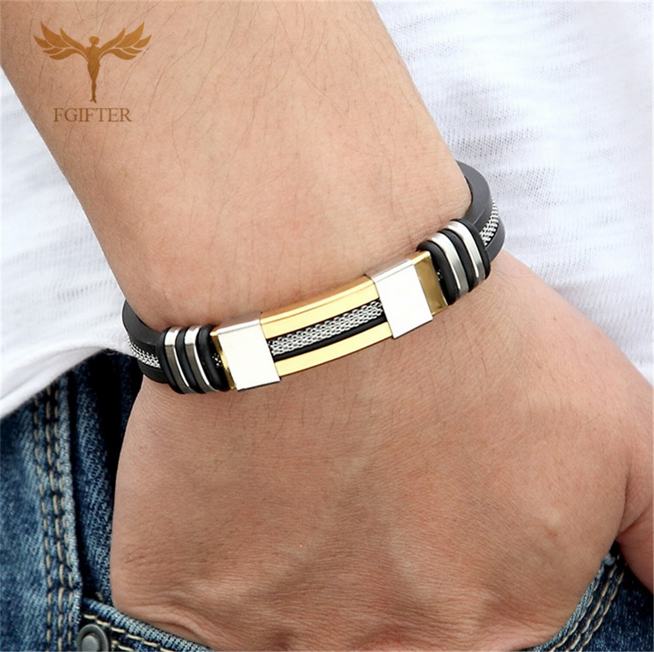 Cool Men's Health Bracelet Stainless Steel Silicone Bracelets with Chain Men Accessories Jewelry Rubber Wristband