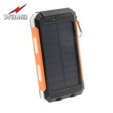 1x Wama Solar Panel Charger dual-USB Waterproof Power Bank 8000mAh Outdoors Compass External Portable LED Light