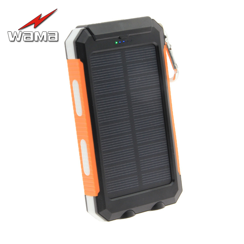 1x Wama Solar Panel Charger dual-USB Waterproof Power Bank 8000mAh Outdoors Compass External Portable LED Light