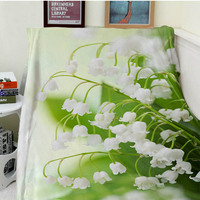 Blanket plaid a blanket Plaids Warmth Soft Plush Bell flower white flower green leaf Plaids on the Sofa Bed Throw blanket