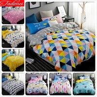 Colorful Plaid Quilt Comforter Duvet Cover 3/4 pcs Bedding Set Adult Kids Child Soft Cotton Bed Linen Single Queen King Big Size