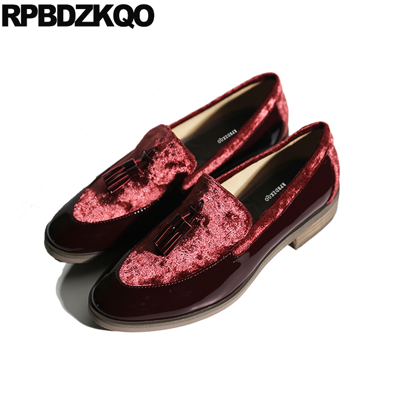 pointed toe flats loafers tassel red wine slip on designer shoes women luxury 2018 fringe velvet japanese school patent leather double tassel decorated pointed toe flats