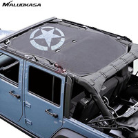 MALUOKASA For Jeep Wrangler JKU 4Doors Sun Shade Eclipse Top Cover Star Roof Mesh Star For