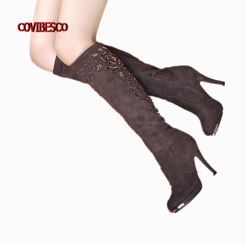 ФОТО 2016new Arrive Fashion Women Knee High Boots Sexy Lady High Heels Flock Beading Women's Snow Autumn Winter Long Motorcycle Boots