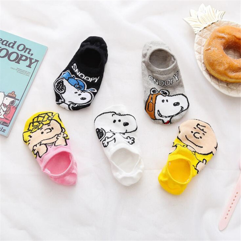 Kawaii Beagles Snoopy Girl's Short Happy Socks Sneakers Socks Summer Cartoon Animal Slippers Boat Socks For Women Girl Meias