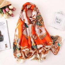 купить Luxury Brand Orange Scarf Women Scarves Female Large Shawls Spring Summer Satin Silk Soft Long Wraps Lady Beach Scarf 180*90cm дешево
