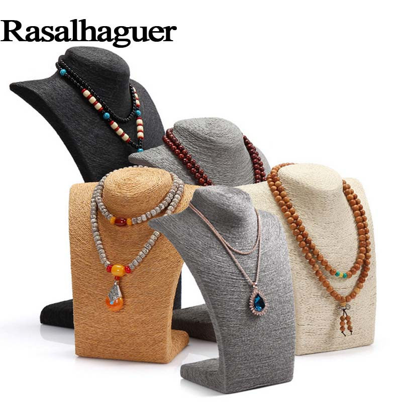 Luxury 6 Colors Woman Rope Mannequin Necklaces Bust Stand Bust Jewelry Display Stand Shelf Holder L23*W13*H36cm Wholesale Price