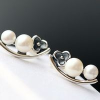 Manually set the natural pearls Thai tremella female paragraph 925 sterling silver petals stud earrings