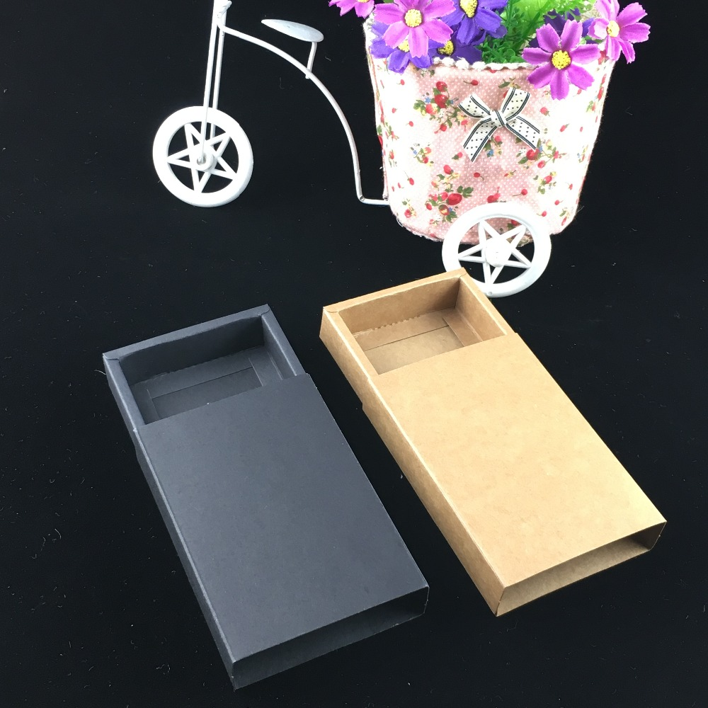 24pcs/lot- Blank Kraft Paper Drawer Boxes Black Paperboard Packaging Box DIY Handmade Soap Craft Jewel Party Gift Boxes