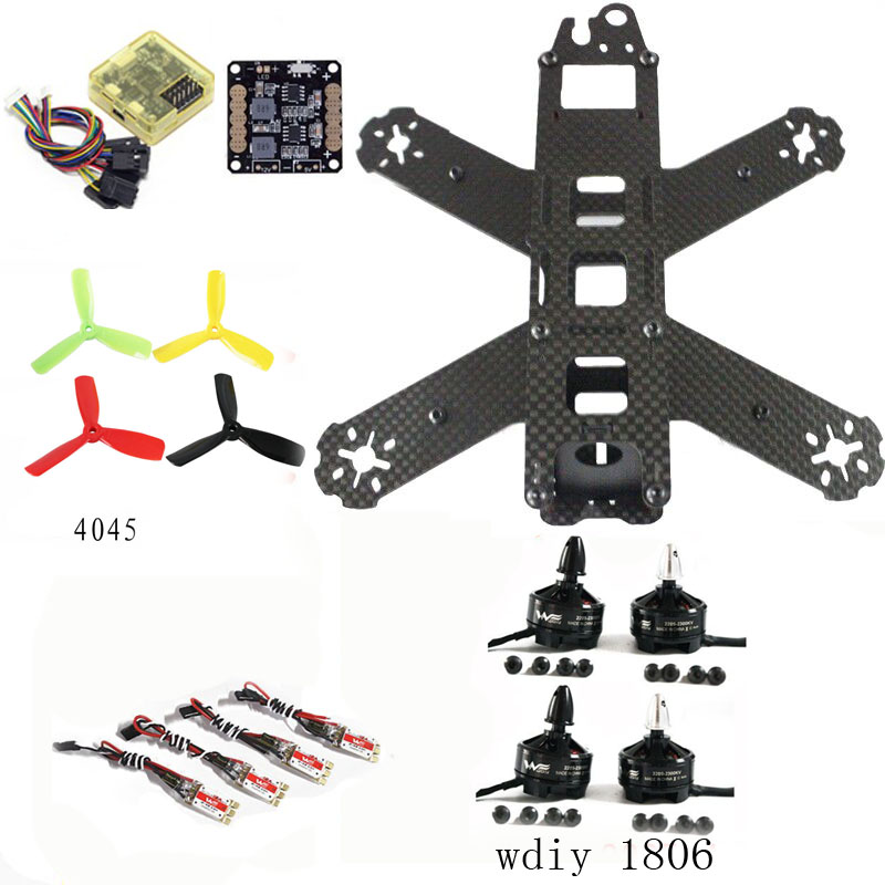 QAV180 quadcopter frame kit CC3D Flight Control Wdiy 1806 motor WST 12A ESC for cross racing drone FPV wdiy motor2204 2300kv qav x qav210  4s