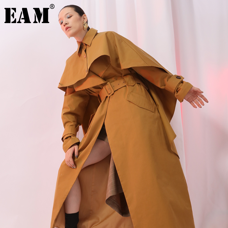 EAM 2019 New Spring Lapel Long Sleeve Detachable Large Size Loose Cloak Windbreaker Women Parkas