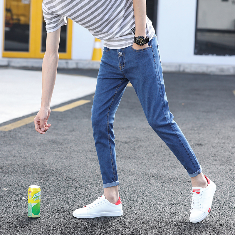 Mens 2018 new small feet stretch mens fashion jeans patch youth solid color Slim trend ankle-Length pants