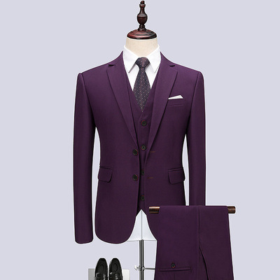 New Three-piece Purple Casual Dress Groom Groomsmen Wedding Banquet Solid Color Two Button