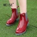 WEISE Cara Brillante de Moda Best Selling Señora Moda de Nueva Llegada Rainboots Cortos de Moda Ocasionales de Las Mujeres Botas de Lluvia