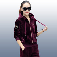Women Sports Suit Tracksuit Spring Autumn Velvet Jacket Zip Up Sweater Hoodies+pants Runing Jogging Casual Set Sportswear 2pcs