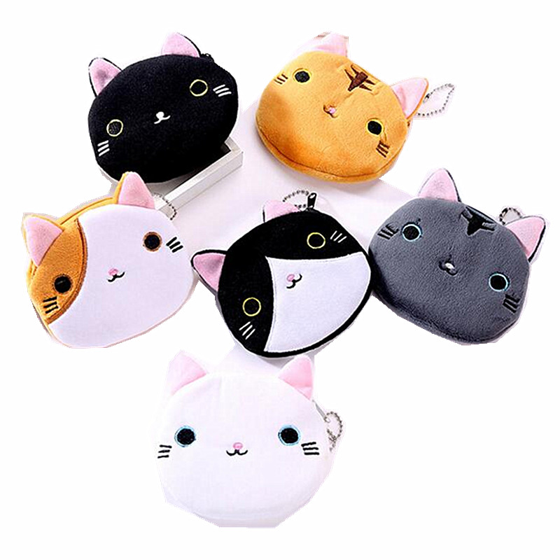 M327 Cute Women Bag Coin Purses Cartoon Creative 6 Style Plush Cat Coin Purse Wallet Card Bag Women Girl Gift Wholesale